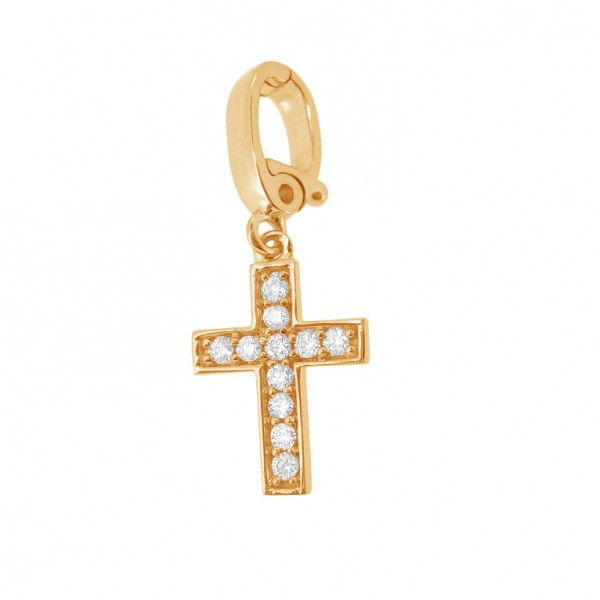 "Cross ""Hook"" Charm in 18K Gold with Diamonds"