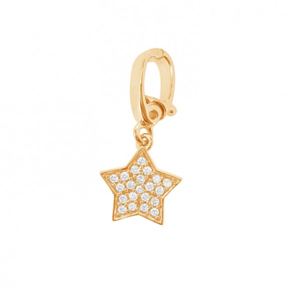 "Star ""Hook"" Charm in 18K Gold with Diamonds"