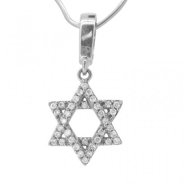 "Star of David ""Hook"" Charm in 18K Gold with Diamonds"