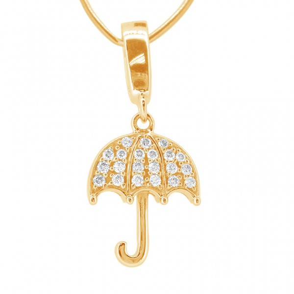 """Umbrella """"Hook"""" Charm in 18K Gold with Diamonds"""