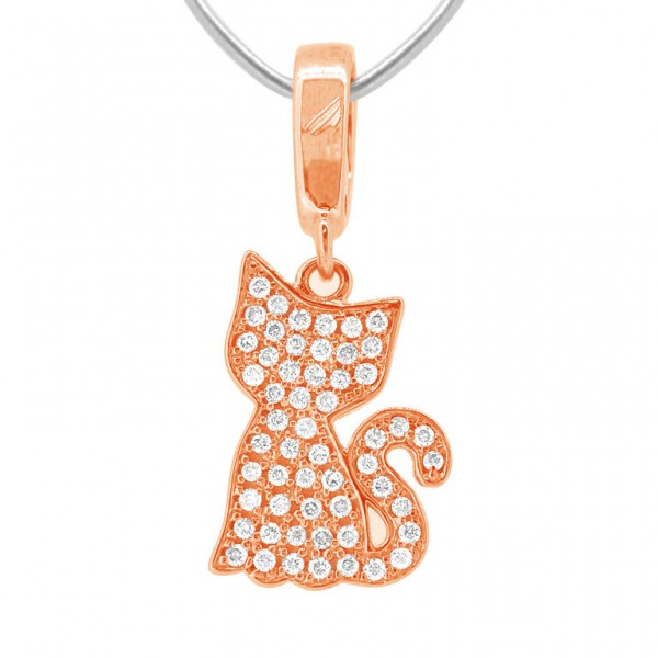 "Kitty ""Hook"" Charm in 18K Gold with Diamonds"