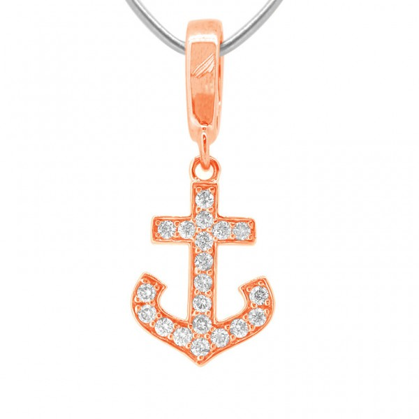 """Anchor """"Hook"""" Charm in 18K Gold with Diamonds"""
