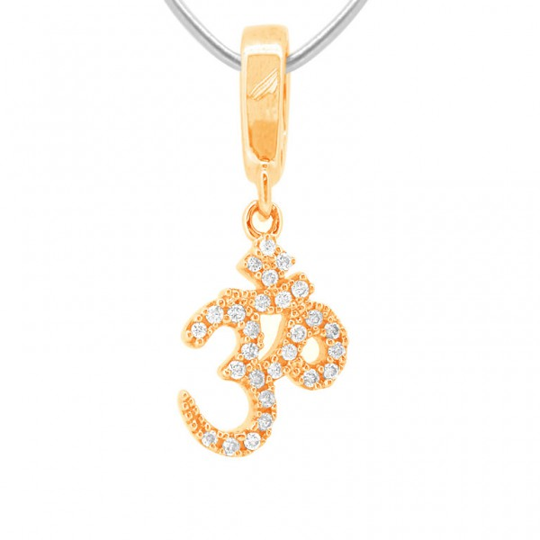 """OM """"Hook"""" Charm in 18K Gold with Diamonds"""