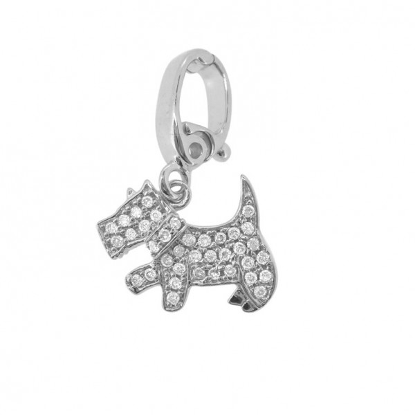 "Man's Best Friend ""Hook"" Charm in 18K Gold with Diamonds"
