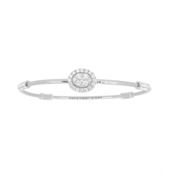 "18K Diamond & Gold ""Twist"" Bangle in White Gold with White Accents - Oval Shape"