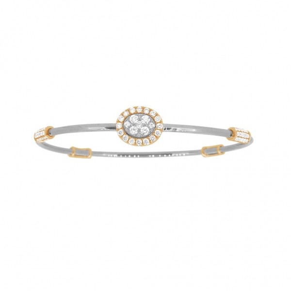 "18K Diamond & Gold ""Twist"" Bangle in White Gold with Yellow Accents - Oval Shape"