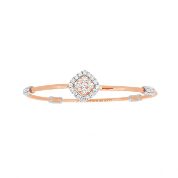 """18K Diamond & Gold """"Twist"""" Bangle in Rose Gold with White Accents - Square Shape"""