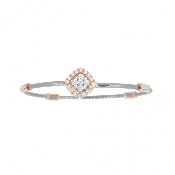 "18K Diamond & Gold ""Twist"" Bangle in White Gold with Rose Accents - Square Shape"
