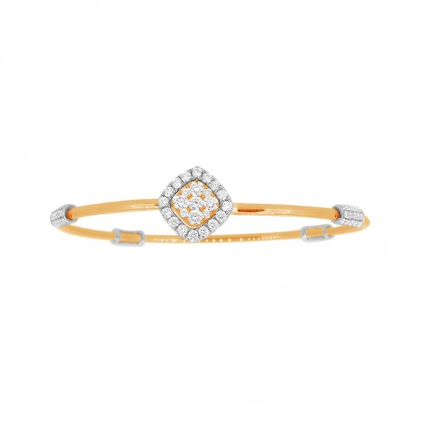 "18K Diamond & Gold ""Twist"" Bangle in Yellow Gold with White Accents - Square Shape"