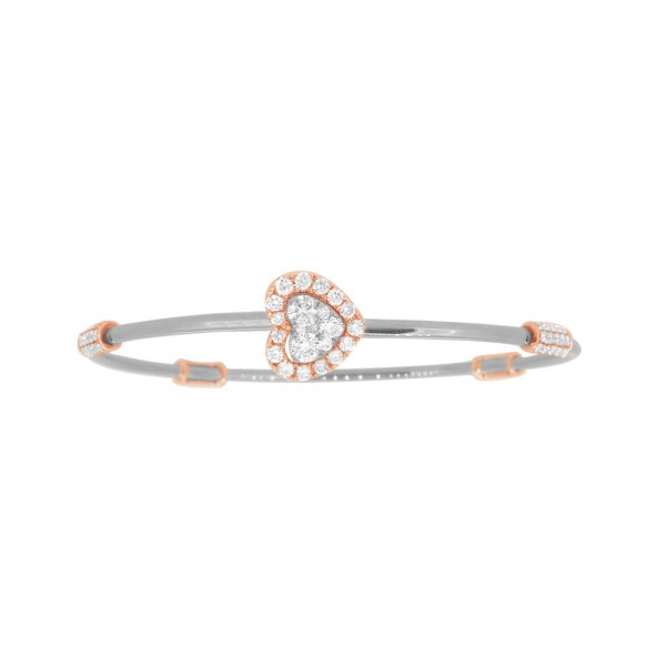 "18K Diamond & Gold ""Twist"" Bangle in White Gold with Rose Accents - Heart Shape"