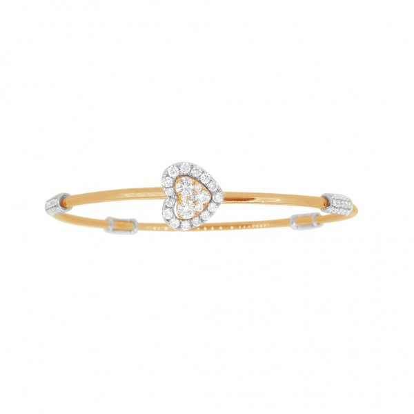 """18K Diamond & Gold """"Twist"""" Bangle in Yellow Gold with White Accents - Heart Shape"""