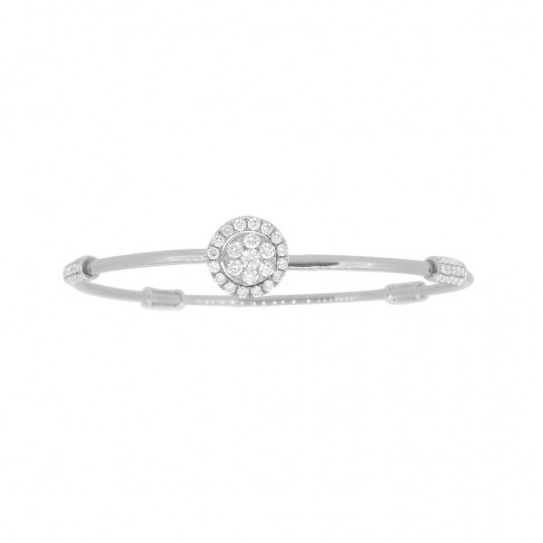 "18K Diamond & Gold ""Twist"" Bangle in White Gold with White Accents - Circle Shape"