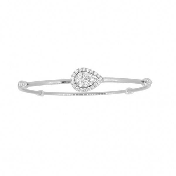 "18K Diamond & Gold ""Twist"" Bangle in White Gold with White Accents - Pear Shape"