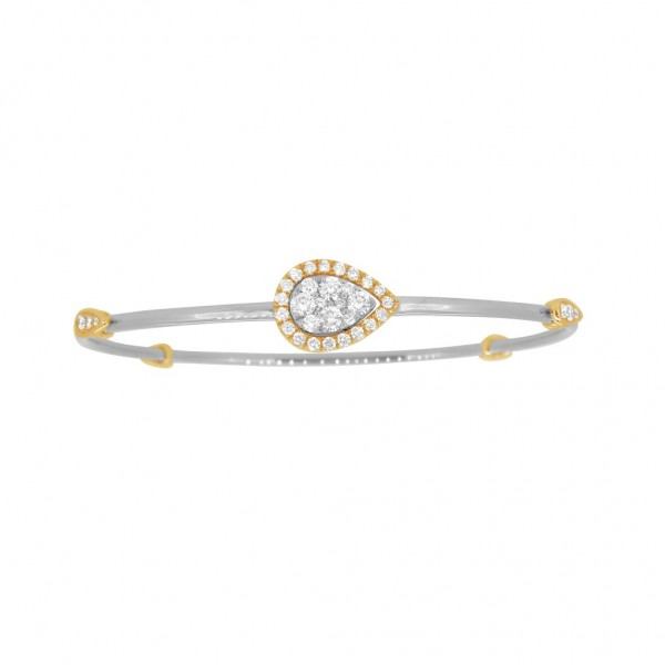 """18K Diamond & Gold """"Twist"""" Bangle in White Gold with Yellow Accents - Pear Shape"""