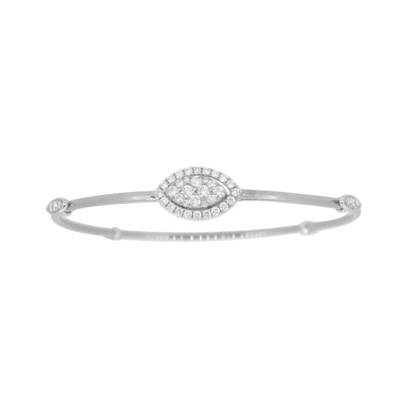 "18K Diamond & Gold ""Twist"" Bangle in White Gold with White Accents - Marquise Shape"